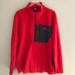 North Face Fleece Red Pullover Front Pocket